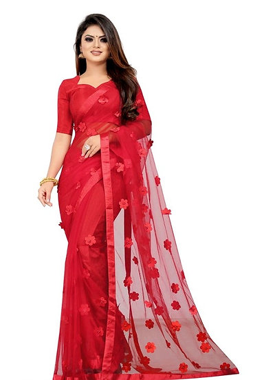 Wondrous Soft Net Saree With Flower Concept - Red