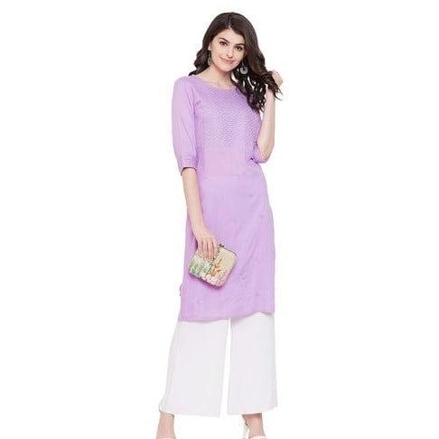 Flamboyant Premium Embroidered Kurti - Purple
