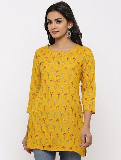 Beauteous Printed Rayon Tunic - Yellow