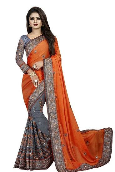 Gracious Georgette Saree With Bangalori Silk Blouse - Orange