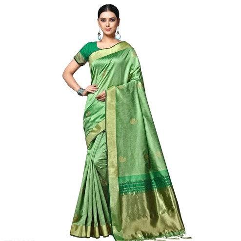 Comely Matka Silk Weaved Banarasi Saree - Light Green