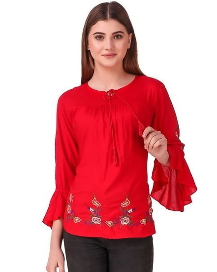 Exquisite Solid Cotton Embroidered Top - Red
