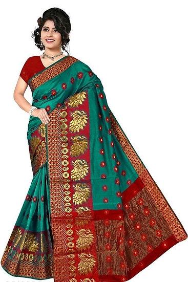 Sumptuous Banarasi Cotton Silk Printed Saree - Green