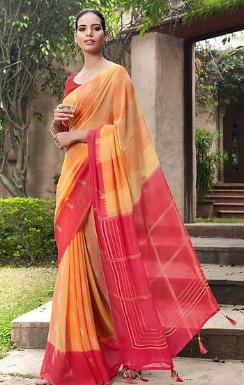 Fascinating Premium Printed Georgette Saree - Orange & Peach