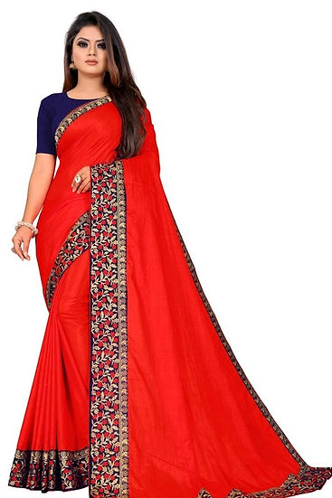 Flamboyant Poly Silk Designer Saree Red