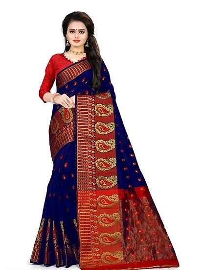 Ravishing Premium Printed Banarasi Silk Saree - Blue