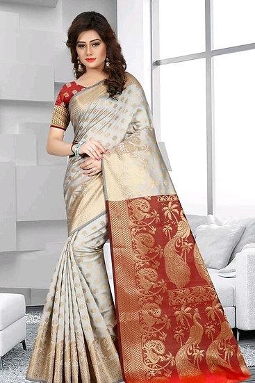 Comely Premium Zari Work Banarasi Silk Saree - Pattern 1