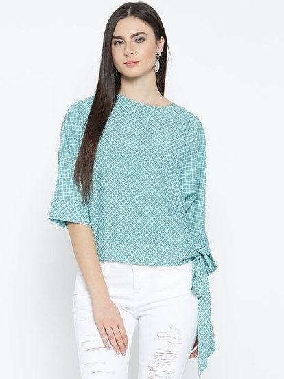Stunning checkered Print Polyester Top - L Green