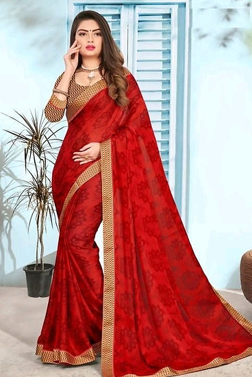 Fascinating Premium Print Chiffon Saree - Red
