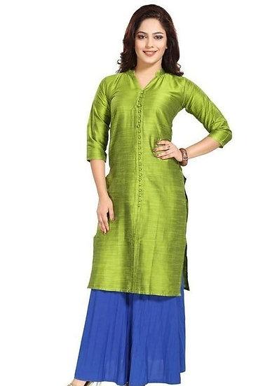 Wondrous Geometric Printed Silk Kurti Green