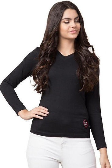 Gracious Solid Cotton Jersey T-shirt - Black