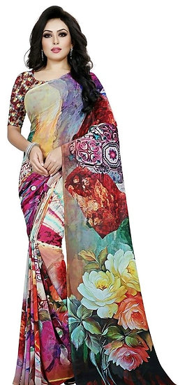 Comely Premium Colorful Print Georgette Saree