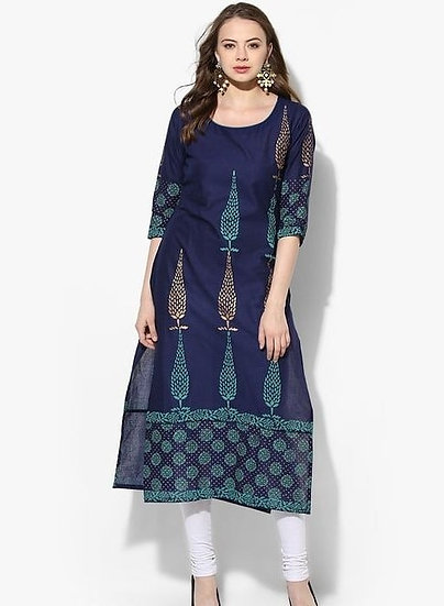Wondrous Block Printed Cotton Kurti - Blue