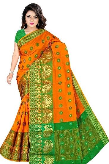 Sumptuous Banarasi Cotton Silk Printed Saree - Orange