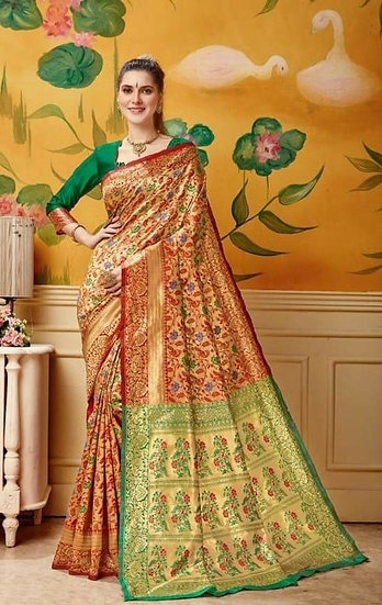 Dazzling Soft Silk Self Designed Jacquard Saree