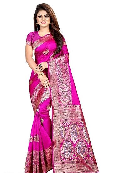 Wondrous Banarasi Art Silk Saree Pink Color