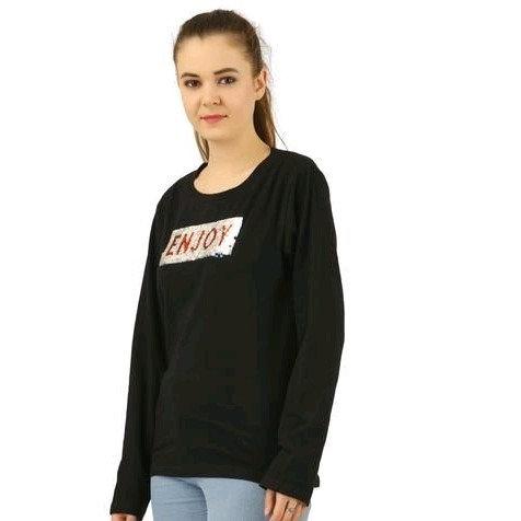 Exquisite Embellished Cotton Tshirt Rec Shape - Black