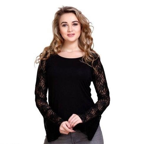 Stunning Solid Cotton Short Top - Black NS