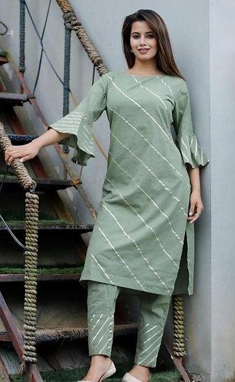 Beauteous Striped Cotton Kurti - Green