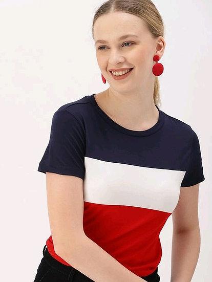 Dazzling Women's Crop T-shirt - Blue White & Red