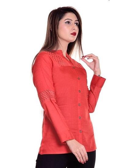 Ravishing Rayon Diamond Cut Designer Top - Red