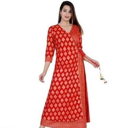 Beauteous Women Angrakha Kurti - Red