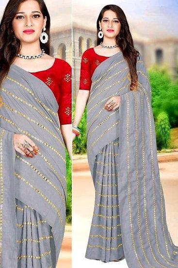 Comely Zari Embroidered Silk Saree & Satin Blouse - Grey