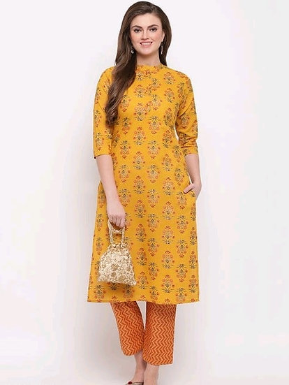 Comely foil print & hand work straight cotton kurti - Yellow