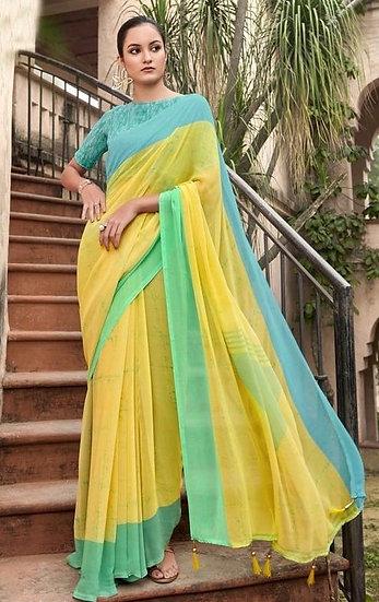 Fascinating Premium Printed Georgette Saree - Yellow Green