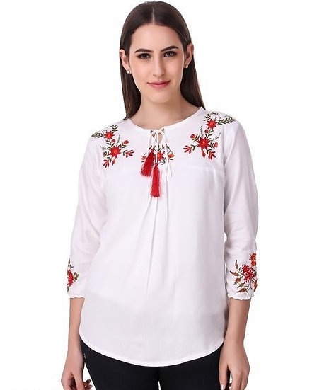 Dazzling Cotton Embroidered Top - White