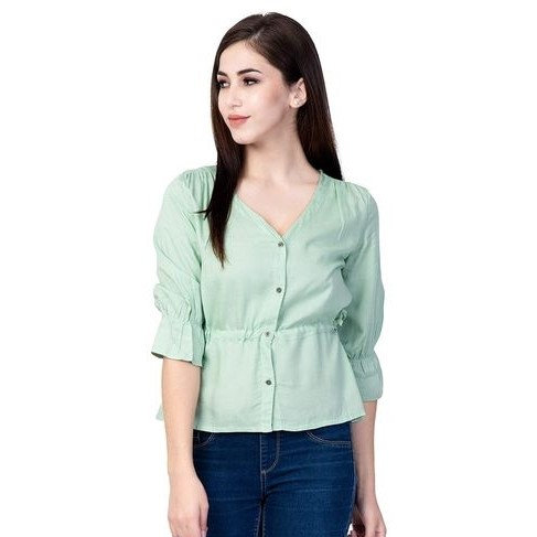 Exquisite Solid Designer Rayon Top - Light Green