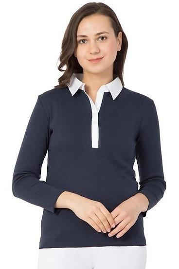 Gracious Jersey T-shirts Collar Style - Dark Blue