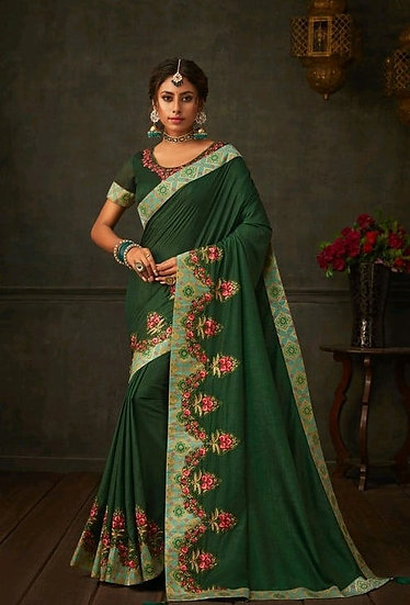 Comely Embroidered & Heavy Work Georgette Saree - Green