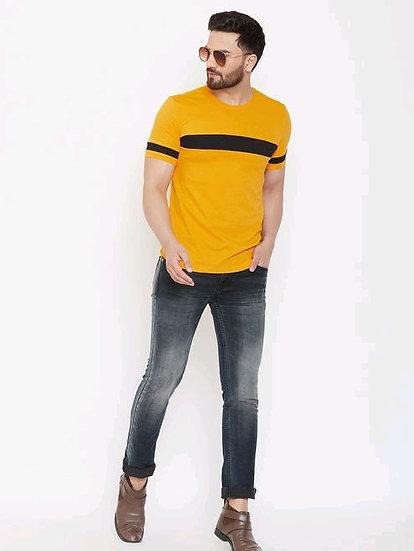 Men's Premium Cotton Striper T-Shirt - Yellow