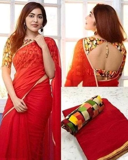 Wondrous Georgette Saree With Bangalori Silk Blouse - Red