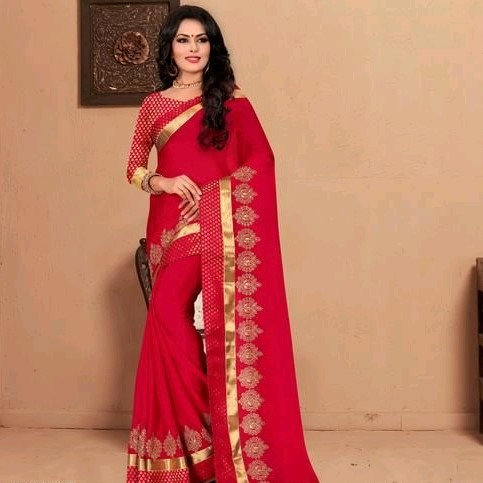 Comely Silk Chiffon Embroidered Saree - Red