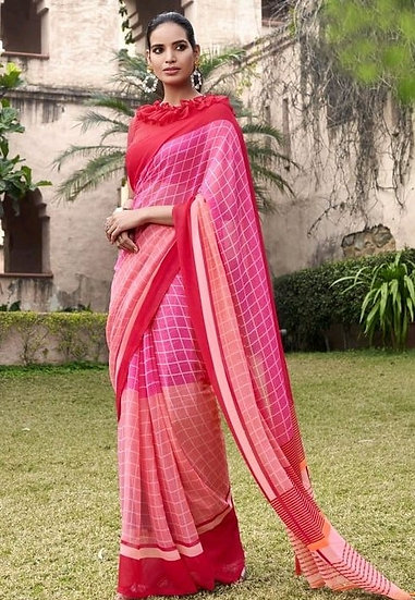 Fascinating Premium Printed Georgette Saree - Pink & Red