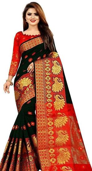 Wondrous Printed Banarasi Silk Saree - Black