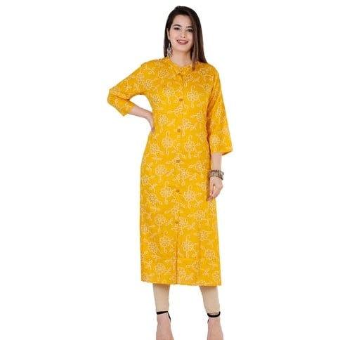 Comely Bandhani Print A-line Kurti - Yellow