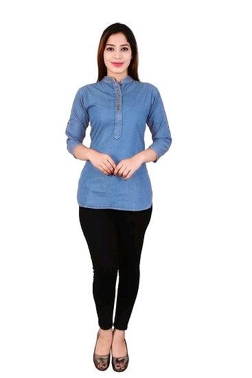 Premium Denim Designer Tunic/Short Kurti