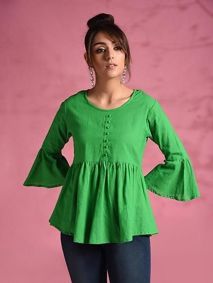 Gracious Cotton Solid Womens Top - Green