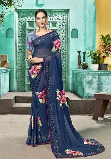 Wondrous Daily Printed Georgette Saree - Blue
