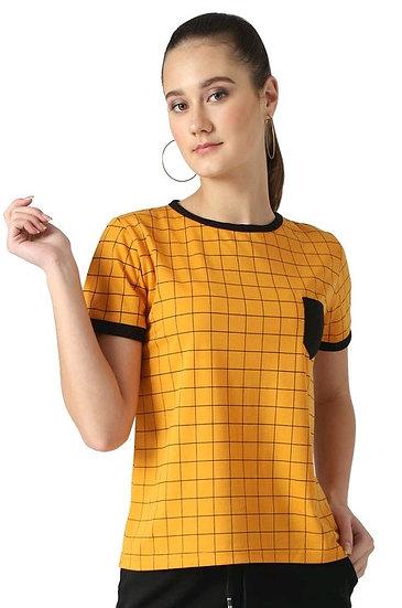 Flamboyant Block Colored Cotton T-shirt - Yellow