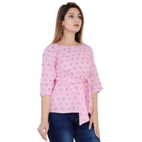 Sumptuous Printed Designer Rayon Top - Pink