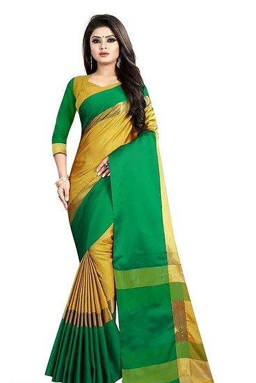 Exquisite Zari Work Cotton Silk Saree - Green
