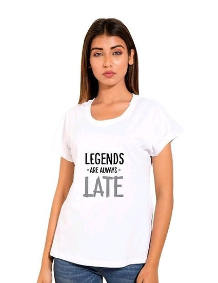 Fascinating Printed Cotton T-shirt - White (Legends)