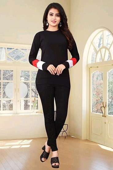 Flamboyant Premium Solit Cotton Full Sleeve T-shirt - Black