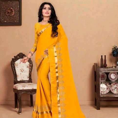 Comely Silk Chiffon Embroidered Saree - Yellow