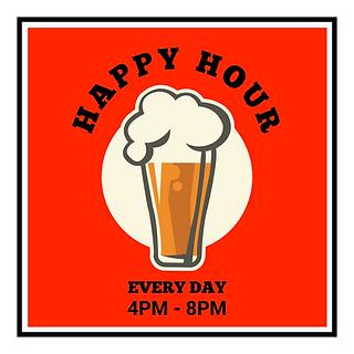 Red Retro Illustrated Happy Hour Promoti