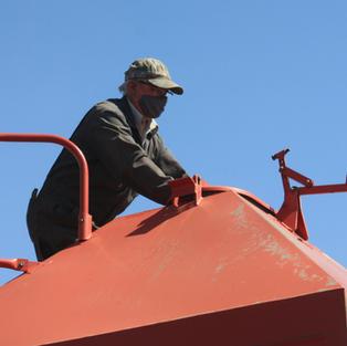 Glenn checking seed levels